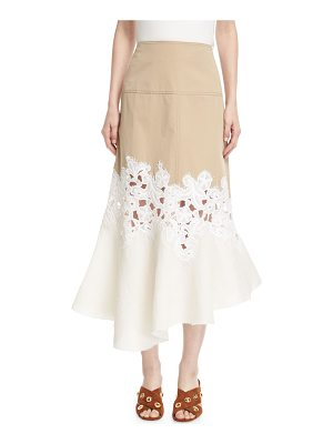 DEREK LAM Lace-Inset Cotton Twill Midi Skirt