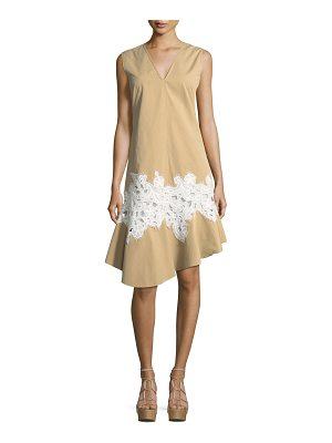 DEREK LAM Twill Lace-Inset V-Neck Dress