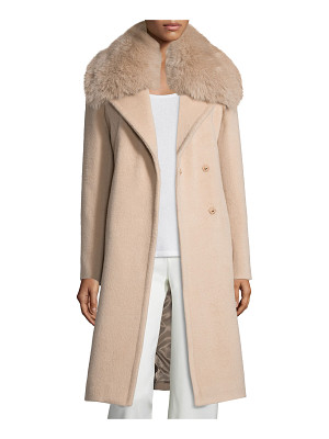 Diane Von Furstenberg Long Fox-Trim Wool-Blend Peacoat