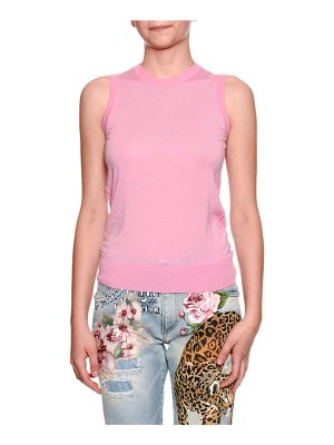 Dolce & Gabbana Cashmere Sleeveless Crewneck Knit Shell Top