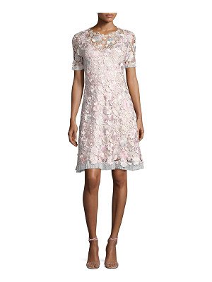 Elie Tahari Laura Short-Sleeve Lace Dress