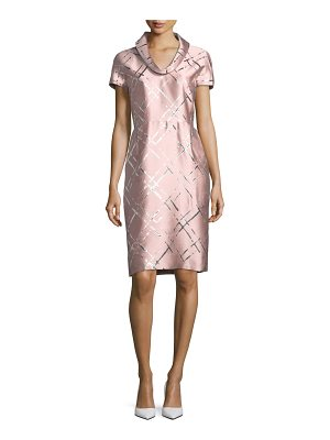 ESCADA Broken Plaid Jacquard Roll-Neck Dress