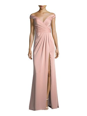 Faviana Off-the-Shoulder Column Faille Satin Evening Gown