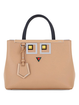 FENDI 2jours Petite Faces Leather Tote Bag