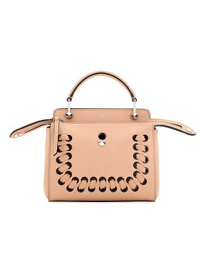 FENDI Dotcom Click Whipstitch Leather Shoulder Bag