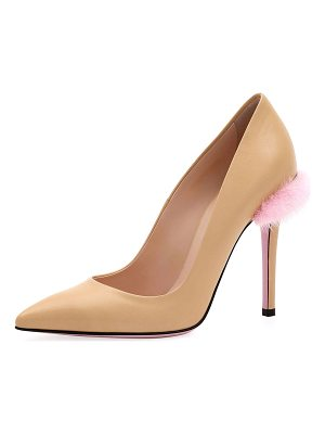 Fendi Duo 95mm Pumps with Fur Trim