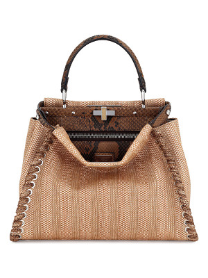 FENDI Peekaboo Medium Straw & Python Whipstitch Satchel Bag