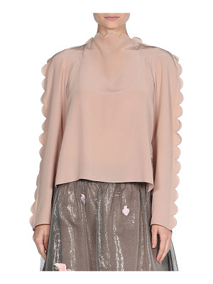 Fendi Scalloped Silk Tie-Back Top