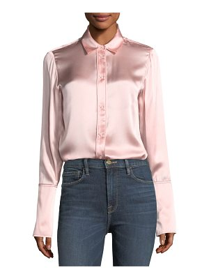 FRAME Button-Front Silk Satin Blouse