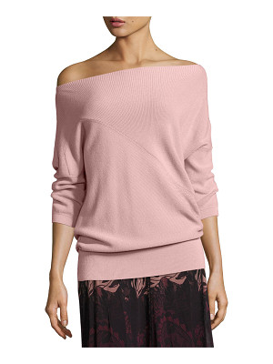 FUZZI 3/4-Sleeve Off-The-Shoulder Wool Sweater