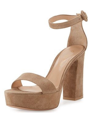 GIANVITO ROSSI Coco Suede Platform Ankle-Wrap Sandal