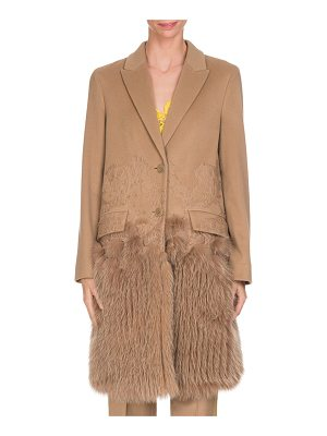 GIVENCHY Wool-Cashmere Lace Single-Breasted Coat With Fur Hem