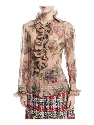 Gucci Botanical Roses Print Silk Shirt with Ruffles