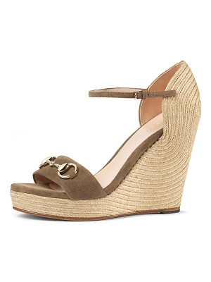 GUCCI Carolina Suede Wedge Espadrille Sandal