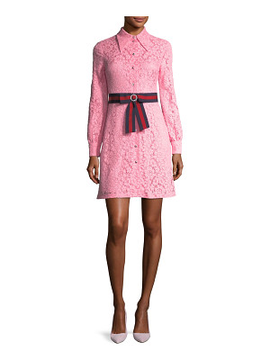 GUCCI Cluny Lace Dress With Web Waistband