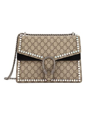 GUCCI Dionysus Gg Canvas Chain Shoulder Bag With Crystals