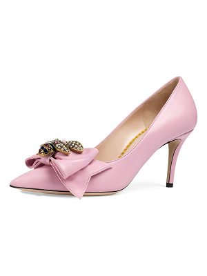 Gucci 75mm Queen Margaret Leather Pump