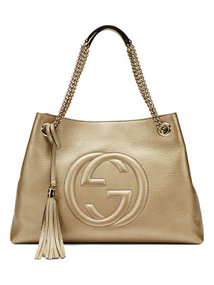 Gucci Soho Metallic Leather Tote Bag