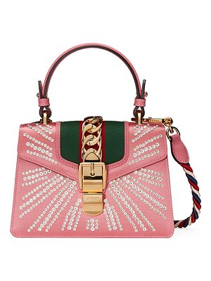 GUCCI Sylvie Mini Embellished Satin Top-Handle Satchel Bag