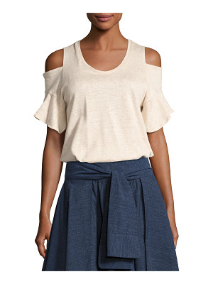 HALSTON Cold-Shoulder Crewneck T-Shirt