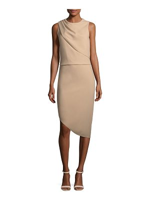 HALSTON Drape-Front Asymmetric-Hem Sheath Dress