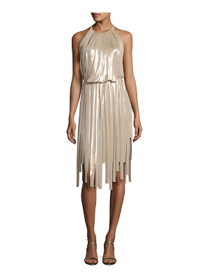HALSTON Pieced Metallic Halter Dress