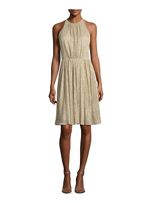Halston Heritage Sleeveless Textured Metallic Cocktail Dress