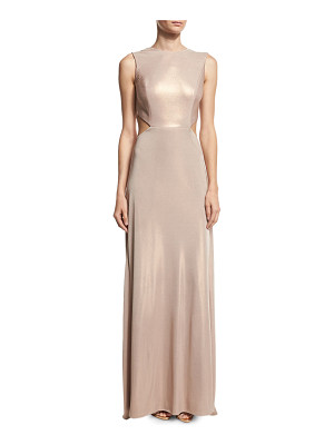 HALSTON Sleeveless Twist-Back Metallic Jersey Column Gown