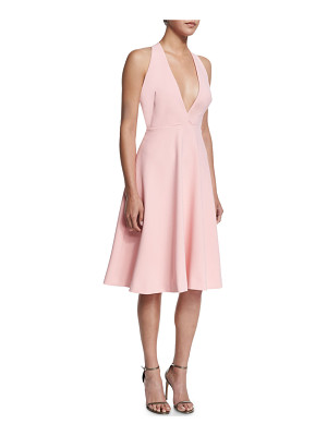 Halston Heritage V-Neck Full-Skirt Halter Dress