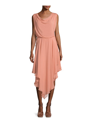 Haute Hippie Anastasia Draped Chiffon Dress W/ Asymmetric Hem