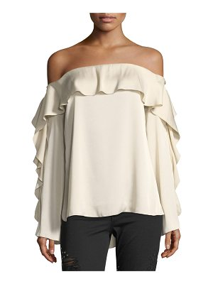Haute Hippie One-Wish Off-the-Shoulder Ruffled Blouse
