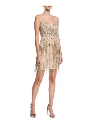 HAUTE HIPPIE Taken Fringe V-Neck Sleeveless Mini Dress