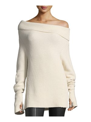 Helmut Lang Folded Off-the-Shoulder Ribbed Long Sweater