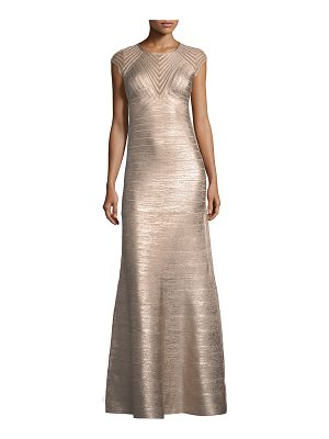 Herve Leger Cap-Sleeve Geometric Illusion Bandage Evening Gown