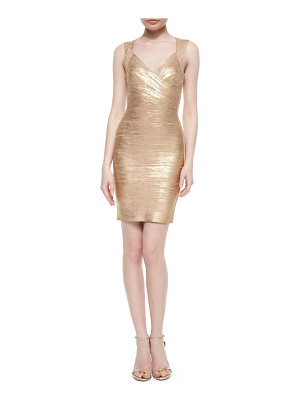 HERVE LEGER Crisscross Metallic Bandage Dress