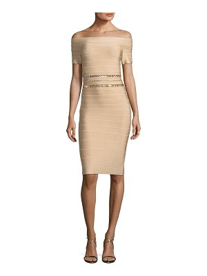 Herve Leger Off-the-Shoulder Bandage Cocktail Dress with Beaded Embellishments