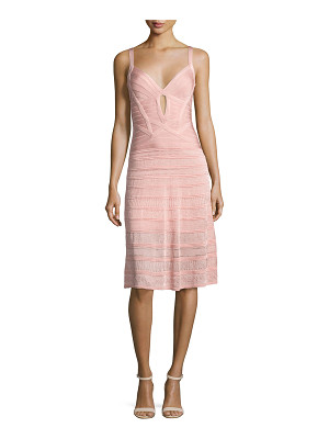 HERVE LEGER Sleeveless Keyhole Bandage Dress With Knit Skirt