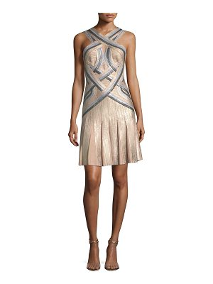 Herve Leger Tricolor Sleeveless Halter-Neck Bandage Cocktail Dress
