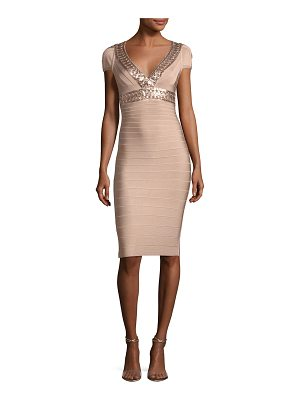 HERVE LEGER V-Neck Cap-Sleeve Bandage Cocktail Dress With Laser-Cut Sequins