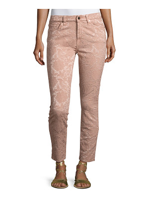 Jen7 Perforated Jacquard Skinny Ankle Jeans