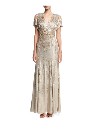 JENNY PACKHAM Beaded Chiffon Cold-Shoulder V-Neck Gown