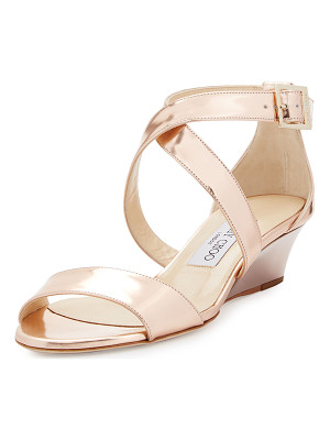 JIMMY CHOO Chiara Mirrored Crisscross Wedge Sandal