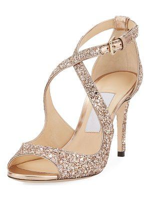 Jimmy Choo Emily Coarse Glitter 85mm Sandal