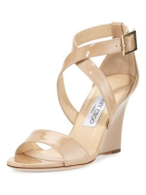 Jimmy Choo Fearne Patent Crisscross Wedge Sandal