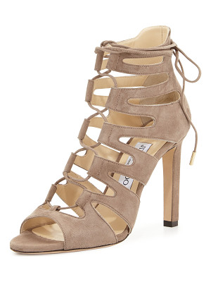JIMMY CHOO Hitch Caged Suede Sandal