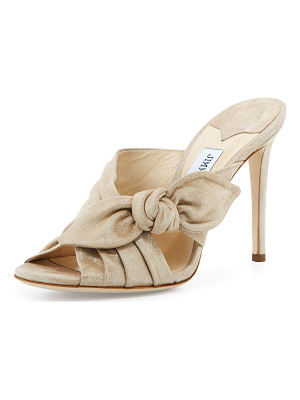 Jimmy Choo Keely Suede Bow 100mm Slide Sandal