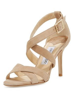 JIMMY CHOO Louise Suede Crisscross 85mm Sandal