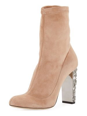 JIMMY CHOO Maine Stretch Suede Bootie With Crystal Heel