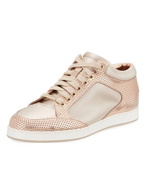 JIMMY CHOO Miami Metallic Leather/Satin Sneaker