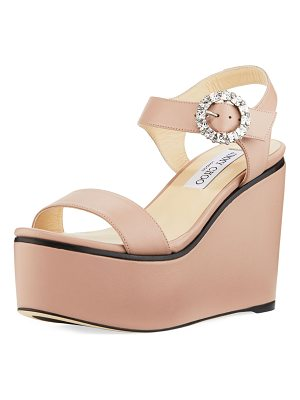 JIMMY CHOO Nylah Leather Wedge Platform Sandal